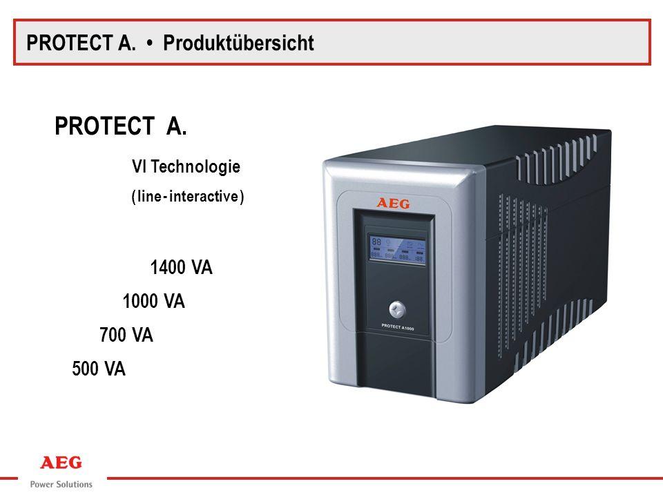 Eingang Ausgang Rückspeiseschutz AVR Wechsel- richter Batterie Ladegleich- richter Transformator Netzfilter VI (line-interactive) - Technologie Automatische Spannungsvorregelung (AVR) gegen Netzspannungsabweichungen Spannungskurvenform, angenäherter Sinus Umschaltzeit bei Netzausfall 2-6 ms 0 t u 12 u PROTECT A.