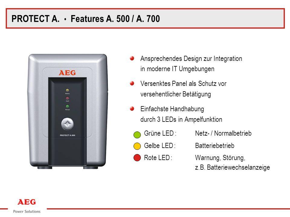 PROTECT A. Blockschaltbild PROTECT A. Features A. 500 / A. 700 Ansprechendes Design zur Integration in moderne IT Umgebungen Versenktes Panel als Schu