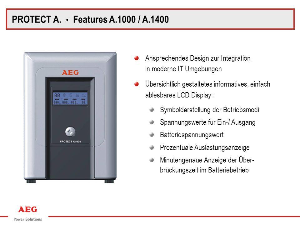 PROTECT A. Features A.1000 / A.1400 Ansprechendes Design zur Integration in moderne IT Umgebungen Übersichtlich gestaltetes informatives, einfach able