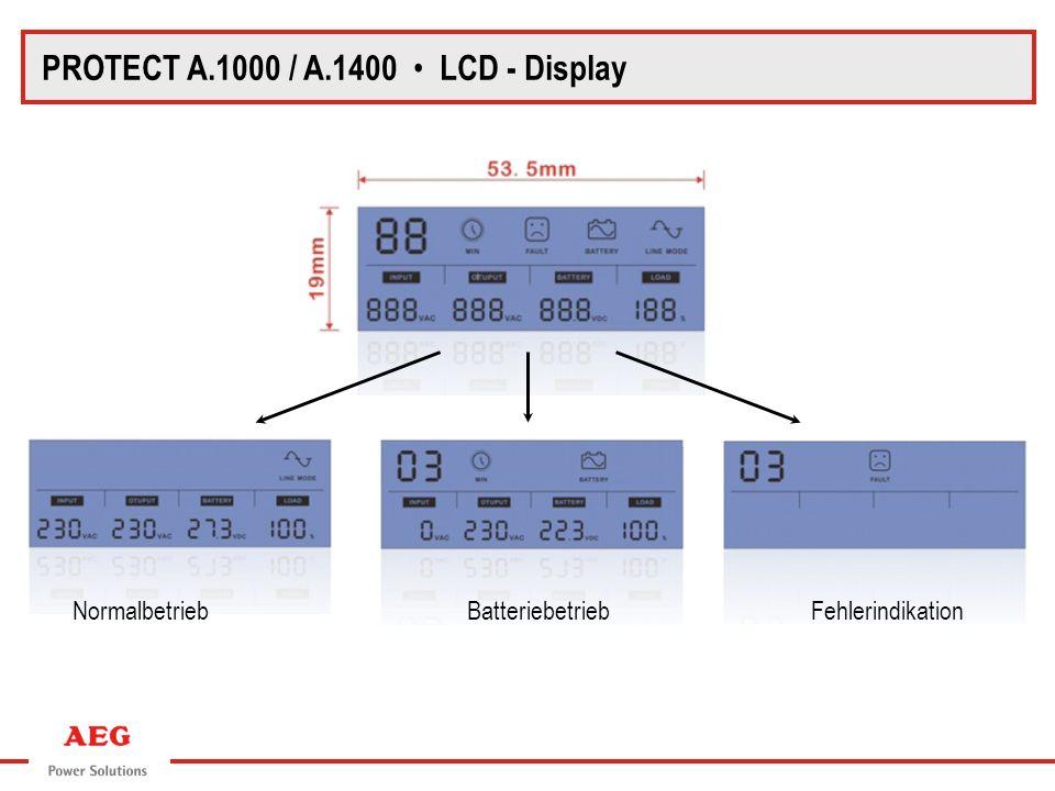 Normalbetrieb Batteriebetrieb Fehlerindikation PROTECT A.1000 / A.1400 LCD - Display