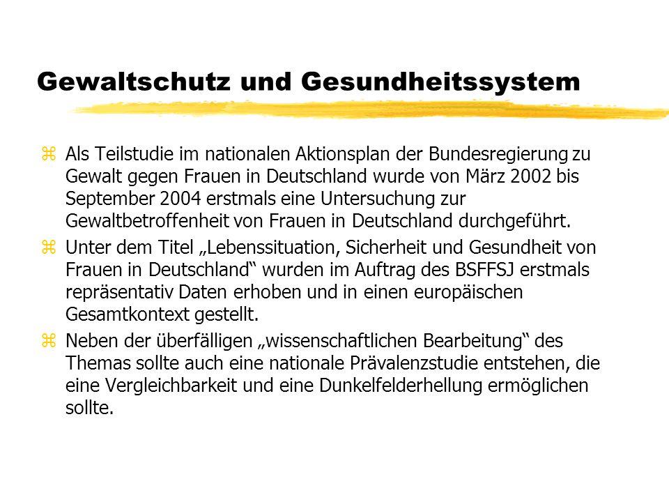 Gewaltschutz und Gesundheitssystem zAls Teilstudie im nationalen Aktionsplan der Bundesregierung zu Gewalt gegen Frauen in Deutschland wurde von März 2002 bis September 2004 erstmals eine Untersuchung zur Gewaltbetroffenheit von Frauen in Deutschland durchgeführt.