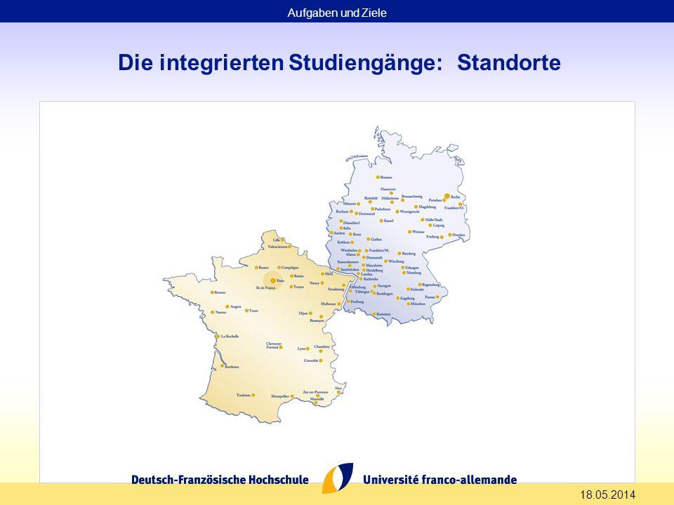 18.05.2014 Die integrierten Studiengänge: Standorte Aufgaben und Ziele