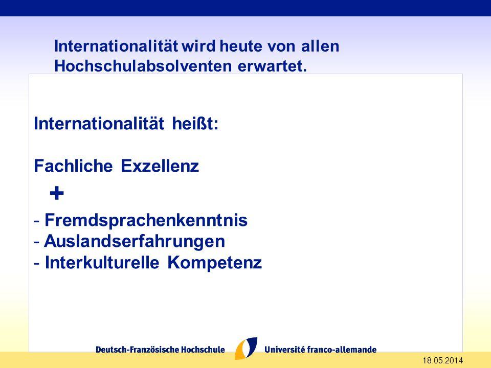 Internationalität wird heute von allen Hochschulabsolventen erwartet. Internationalität heißt: Fachliche Exzellenz + - Fremdsprachenkenntnis - Ausland