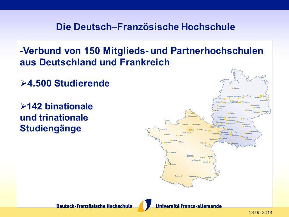 -Verbund von 150 Mitglieds- und Partnerhochschulen aus Deutschland und Frankreich 4.500 Studierende 142 binationale und trinationale Studiengänge 18.0