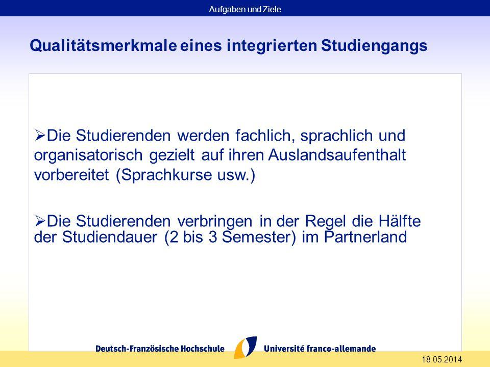 18.05.2014 Qualitätsmerkmale eines integrierten Studiengangs Die Studierenden werden fachlich, sprachlich und organisatorisch gezielt auf ihren Auslan