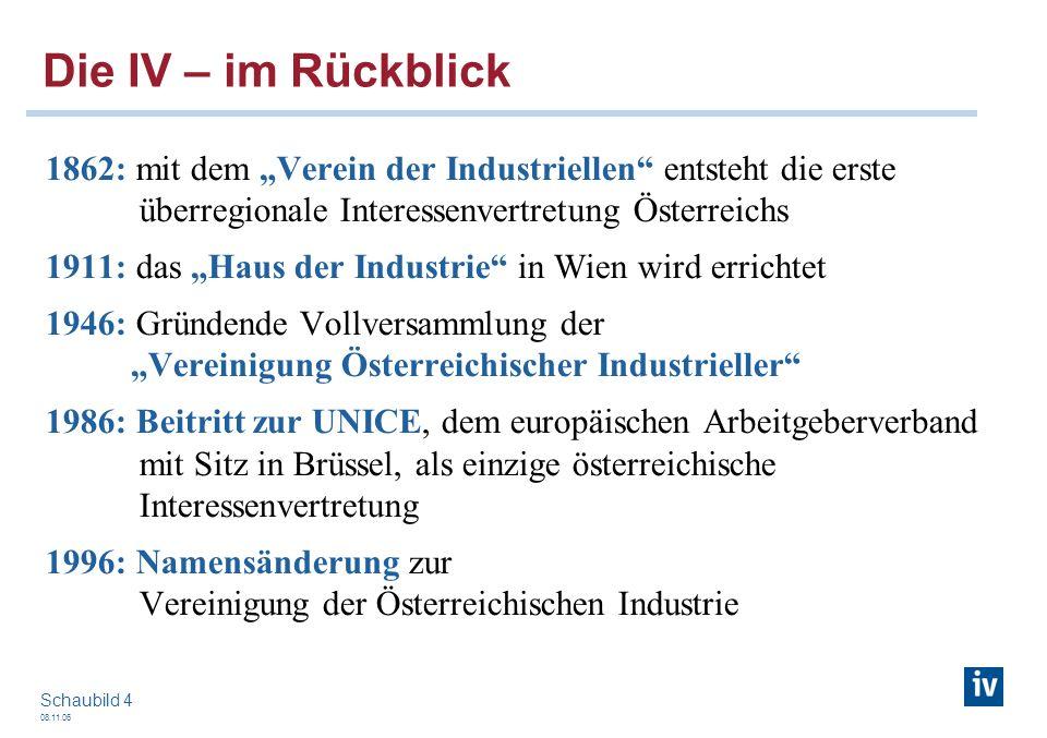 08.11.06 Schaubild 4 1862: mit dem Verein der Industriellen entsteht die erste überregionale Interessenvertretung Österreichs 1911: das Haus der Indus