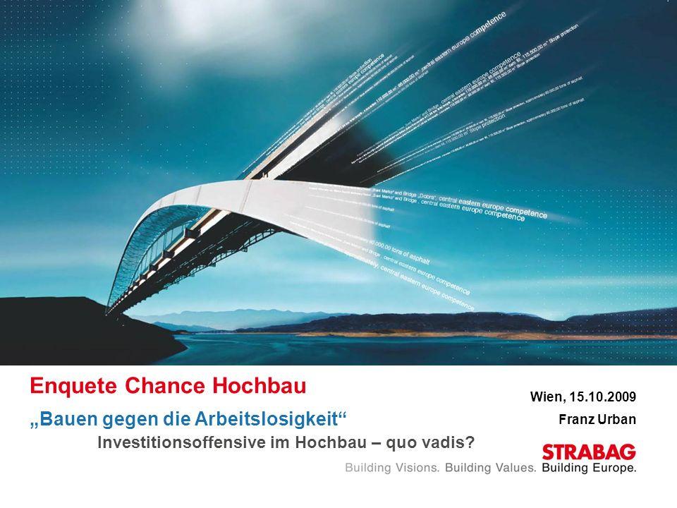 Enquete Chance Hochbau Bauen gegen die Arbeitslosigkeit Investitionsoffensive im Hochbau – quo vadis? Wien, 15.10.2009 Franz Urban
