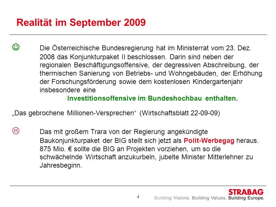 4 Realität im September 2009 Die Österreichische Bundesregierung hat im Ministerrat vom 23. Dez. 2008 das Konjunkturpaket II beschlossen. Darin sind n