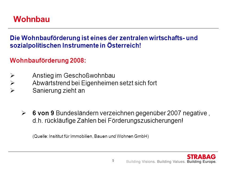 5 Wohnbau Die Wohnbauförderung ist eines der zentralen wirtschafts- und sozialpolitischen Instrumente in Österreich! Wohnbauförderung 2008: Anstieg im