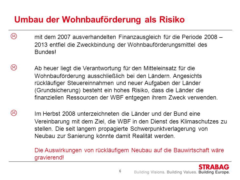 6 Umbau der Wohnbauförderung als Risiko mit dem 2007 ausverhandelten Finanzausgleich für die Periode 2008 – 2013 entfiel die Zweckbindung der Wohnbauf