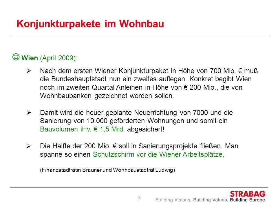 7 Konjunkturpakete im Wohnbau Wien (April 2009): Nach dem ersten Wiener Konjunkturpaket in Höhe von 700 Mio. muß die Bundeshauptstadt nun ein zweites
