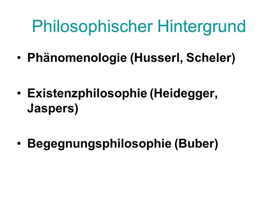 Philosophischer Hintergrund Phänomenologie (Husserl, Scheler) Existenzphilosophie (Heidegger, Jaspers) Begegnungsphilosophie (Buber)