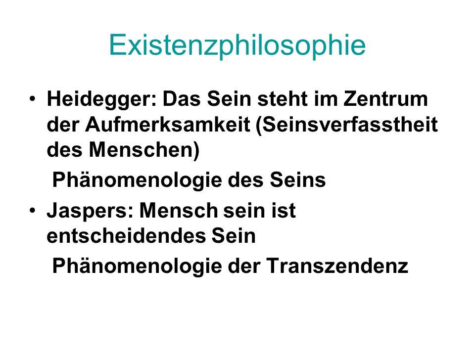 Existenzphilosophie Heidegger: Das Sein steht im Zentrum der Aufmerksamkeit (Seinsverfasstheit des Menschen) Phänomenologie des Seins Jaspers: Mensch sein ist entscheidendes Sein Phänomenologie der Transzendenz