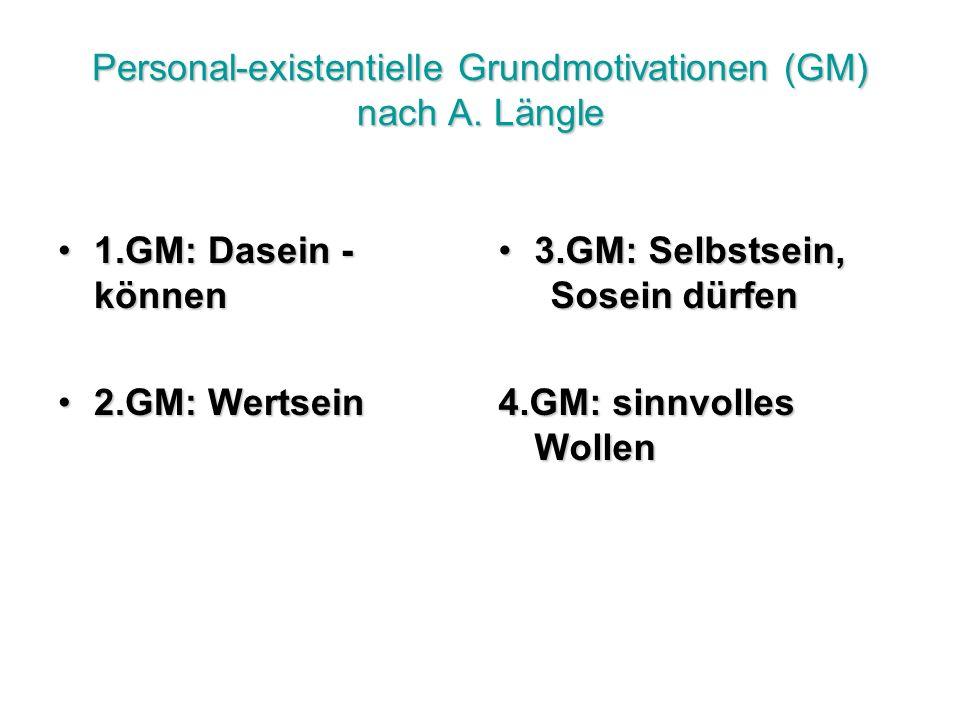 Personal-existentielle Grundmotivationen (GM) nach A.