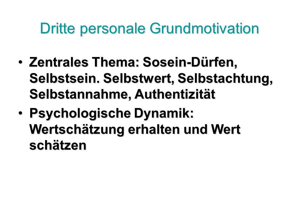 Dritte personale Grundmotivation Zentrales Thema: Sosein-Dürfen, Selbstsein.