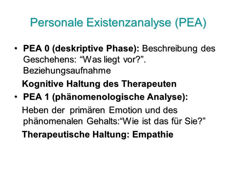 Personale Existenzanalyse (PEA) PEA 0 (deskriptive Phase): Beschreibung des Geschehens: Was liegt vor?.