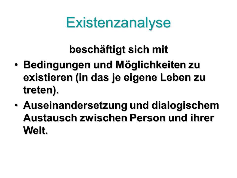 Existenzanalyse beschäftigt sich mit Bedingungen und Möglichkeiten zu existieren (in das je eigene Leben zu treten).Bedingungen und Möglichkeiten zu existieren (in das je eigene Leben zu treten).