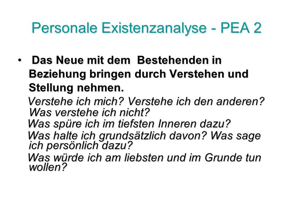 Personale Existenzanalyse - PEA 2 Das Neue mit dem Bestehenden in Beziehung bringen durch Verstehen und Stellung nehmen.