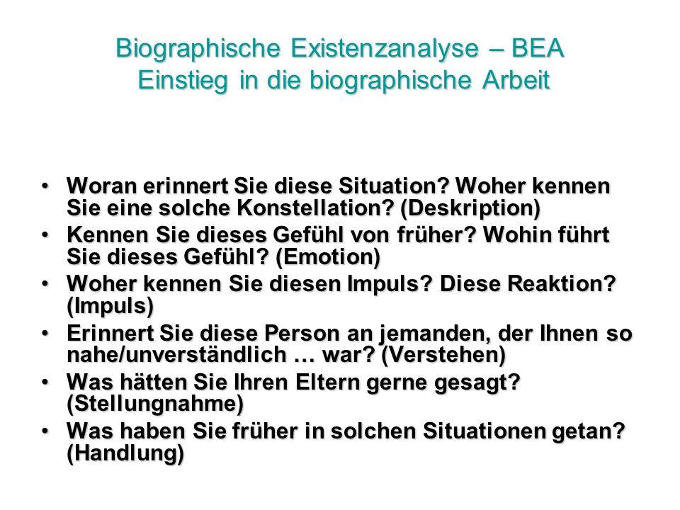 Biographische Existenzanalyse – BEA Einstieg in die biographische Arbeit Woran erinnert Sie diese Situation.