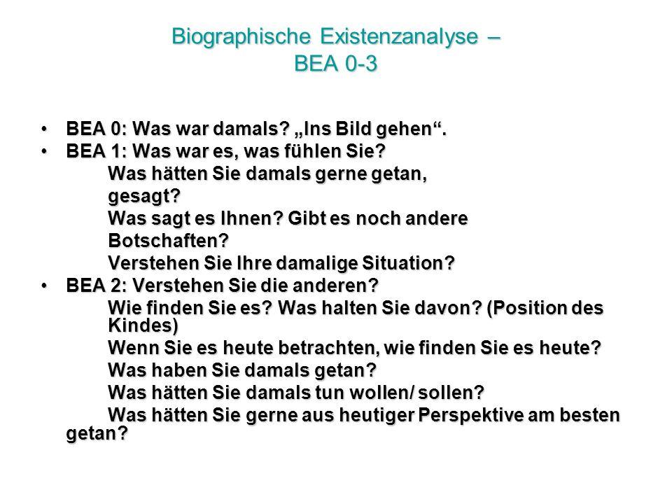 Biographische Existenzanalyse – BEA 0-3 BEA 0: Was war damals.