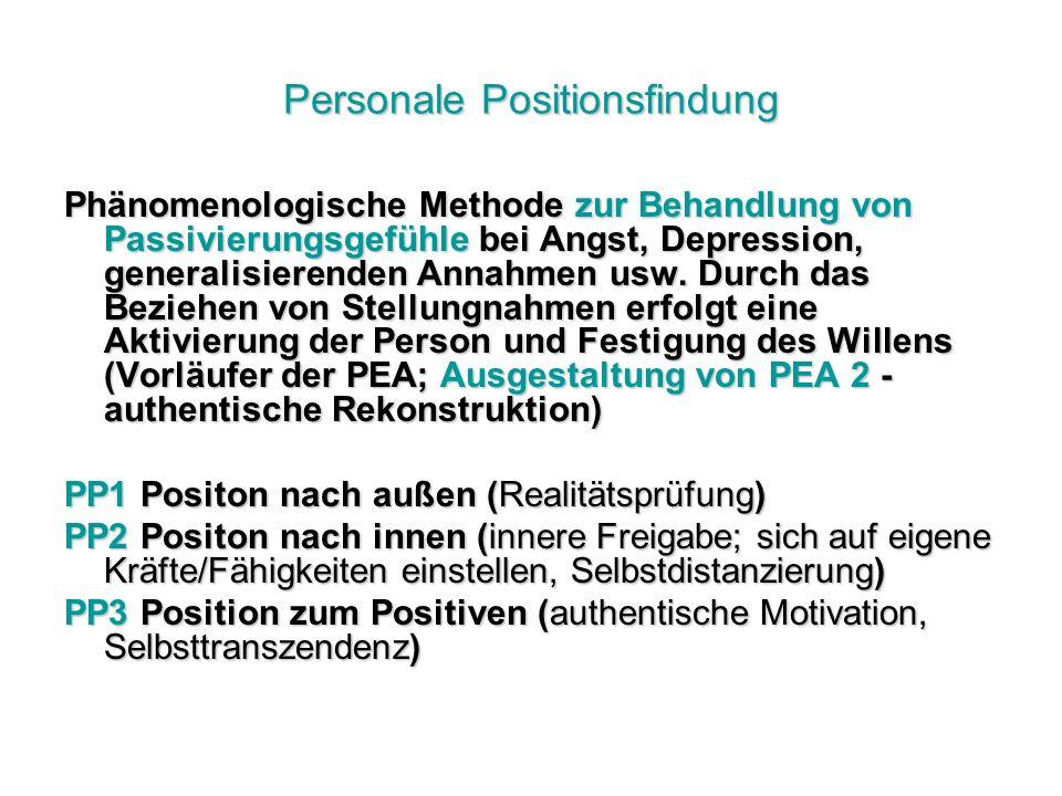 Personale Positionsfindung Phänomenologische Methode zur Behandlung von Passivierungsgefühle bei Angst, Depression, generalisierenden Annahmen usw.