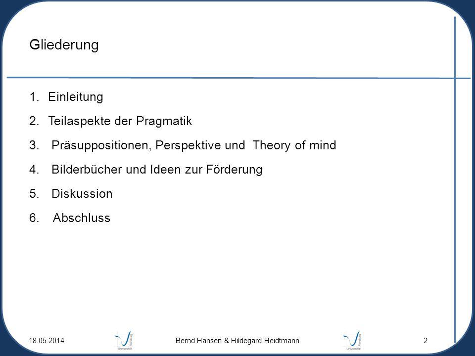 Gliederung 1.Einleitung 2.Teilaspekte der Pragmatik 3. Präsuppositionen, Perspektive und Theory of mind 4. Bilderbücher und Ideen zur Förderung 5. Dis