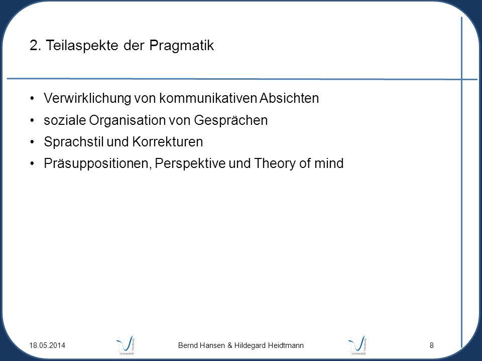 2. Teilaspekte der Pragmatik Verwirklichung von kommunikativen Absichten soziale Organisation von Gesprächen Sprachstil und Korrekturen Präsupposition