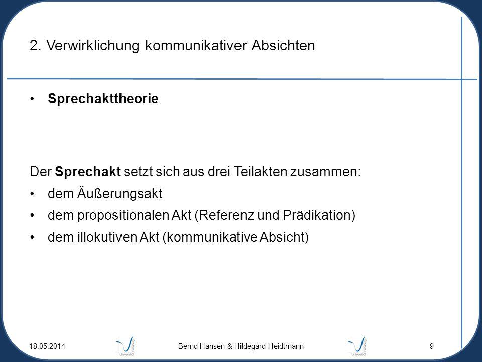 2. Verwirklichung kommunikativer Absichten Sprechakttheorie Der Sprechakt setzt sich aus drei Teilakten zusammen: dem Äußerungsakt dem propositionalen