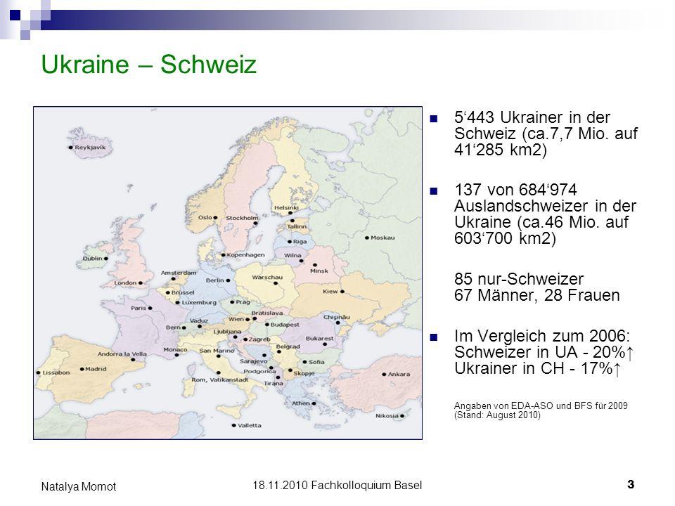 18.11.2010 Fachkolloquium Basel 3 Natalya Momot Ukraine – Schweiz 5443 Ukrainer in der Schweiz (ca.7,7 Mio. auf 41285 km2) 137 von 684974 Auslandschwe