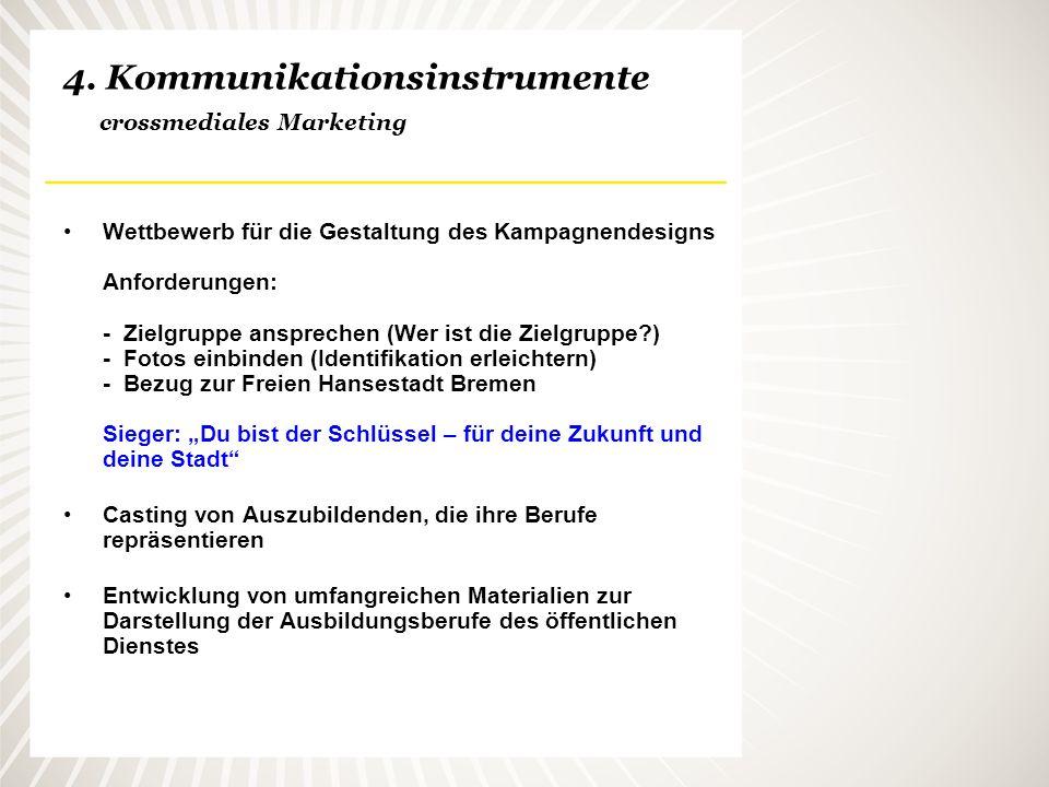4. Kommunikationsinstrumente crossmediales Marketing Wettbewerb für die Gestaltung des Kampagnendesigns Anforderungen: - Zielgruppe ansprechen (Wer is