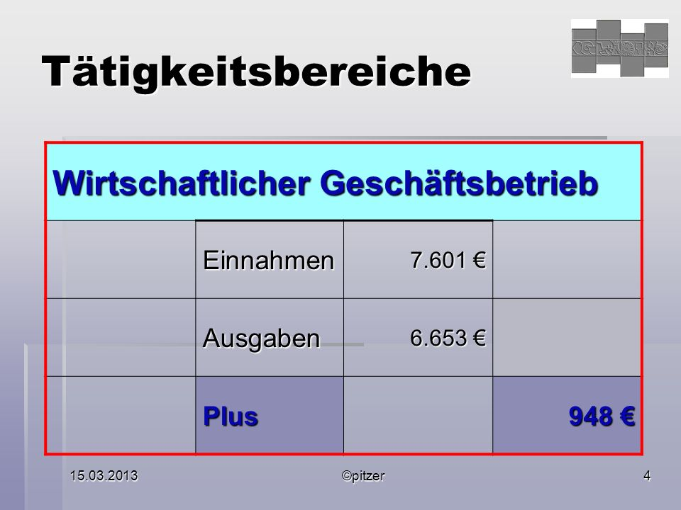 15.03.2013©pitzer4 Tätigkeitsbereiche Wirtschaftlicher Geschäftsbetrieb Einnahmen 7.601 7.601 Ausgaben 6.653 6.653 Plus 948 948