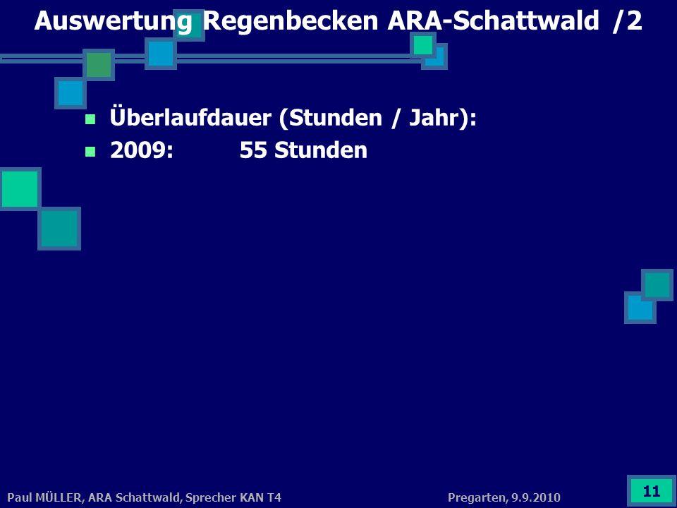 Pregarten, 9.9.2010Paul MÜLLER, ARA Schattwald, Sprecher KAN T4 11 Auswertung Regenbecken ARA-Schattwald /2 Überlaufdauer (Stunden / Jahr): 2009: 55 S
