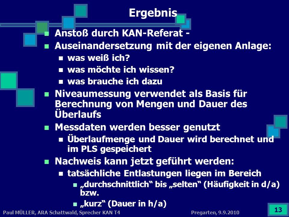 Pregarten, 9.9.2010Paul MÜLLER, ARA Schattwald, Sprecher KAN T4 13 Ergebnis Anstoß durch KAN-Referat - Auseinandersetzung mit der eigenen Anlage: was