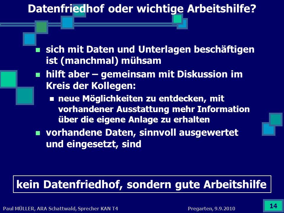 Pregarten, 9.9.2010Paul MÜLLER, ARA Schattwald, Sprecher KAN T4 14 Datenfriedhof oder wichtige Arbeitshilfe? sich mit Daten und Unterlagen beschäftige