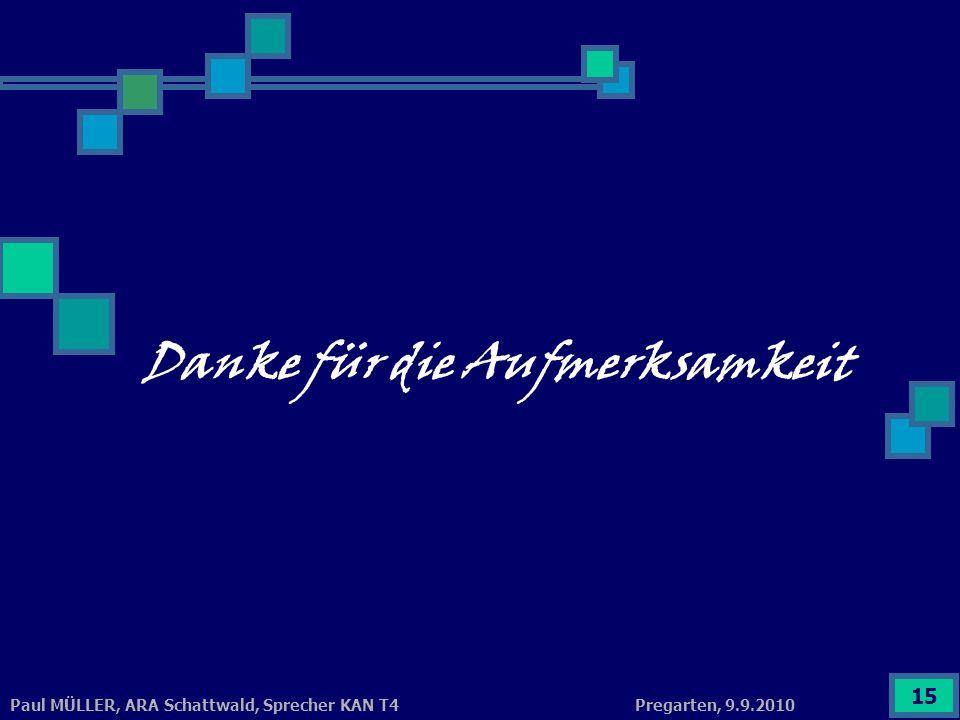 Pregarten, 9.9.2010Paul MÜLLER, ARA Schattwald, Sprecher KAN T4 15 Danke für die Aufmerksamkeit