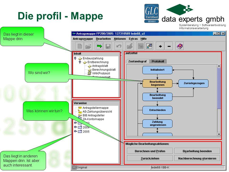 data experts gmbh Systemberatung Softwareentwicklung Informationsverarbeitung Antragsmappe FP200/2006 1500200333 Unternehmer c Vis.K PEB VOK ZID Entsch Abtret Was anfassen.