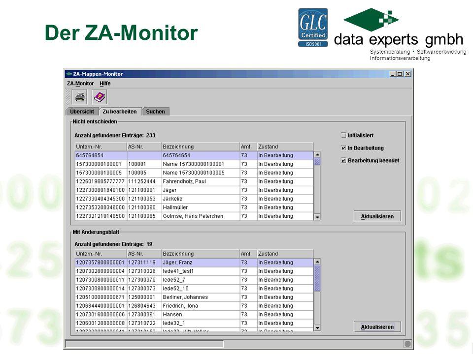 data experts gmbh Systemberatung Softwareentwicklung Informationsverarbeitung Controlling MonitoreNeue Registratur Das Controlling