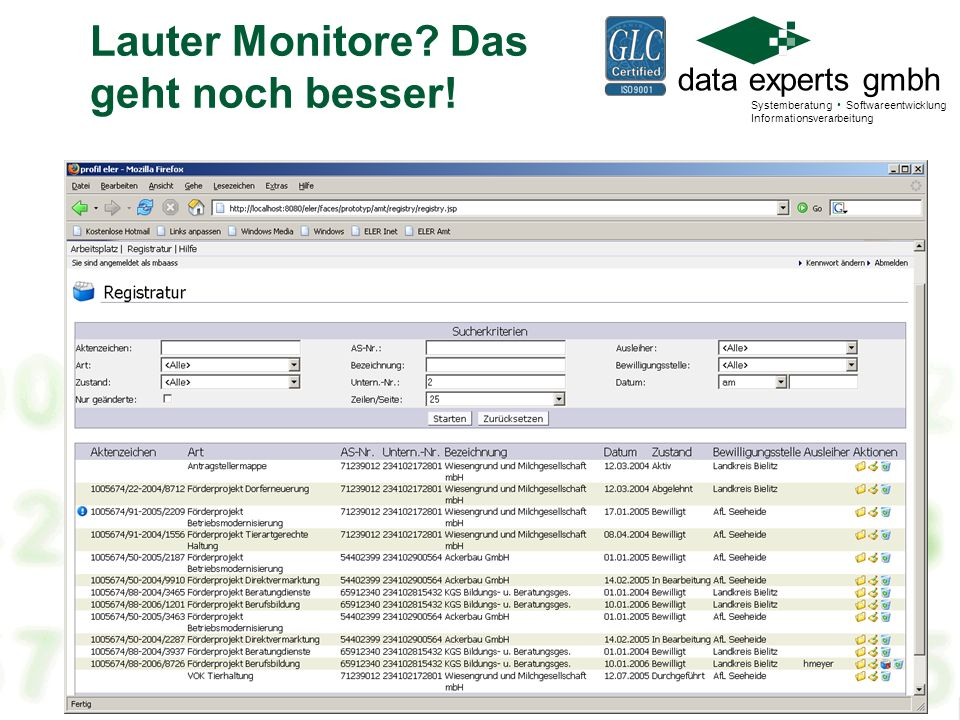 data experts gmbh Systemberatung Softwareentwicklung Informationsverarbeitung Der ZA-Monitor