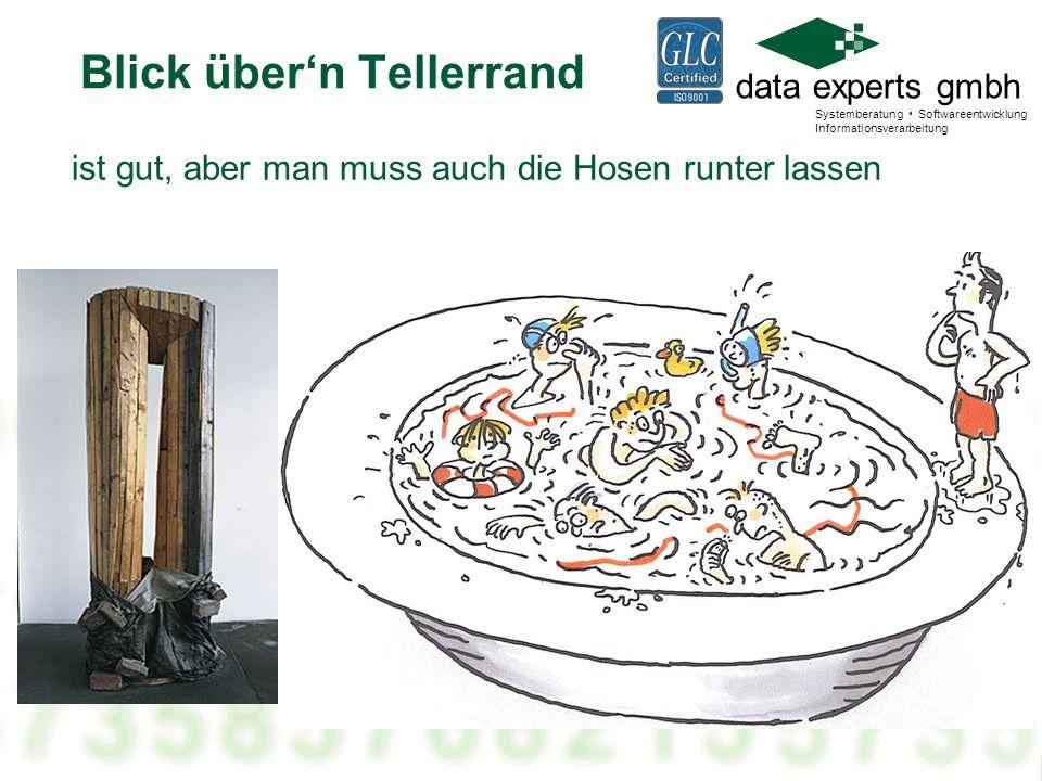 data experts gmbh Systemberatung Softwareentwicklung Informationsverarbeitung Agenda Der Blick über den Tellerrand (Bild Blick.