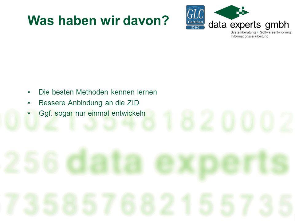 data experts gmbh Systemberatung Softwareentwicklung Informationsverarbeitung Die Wiederaufnahme Nur für Anträge!