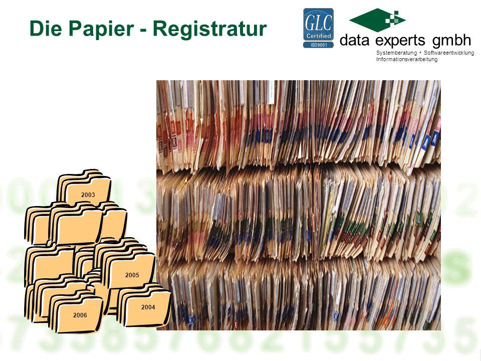 data experts gmbh Systemberatung Softwareentwicklung Informationsverarbeitung 2003 Die Papier - Registratur 2005 2006 2004