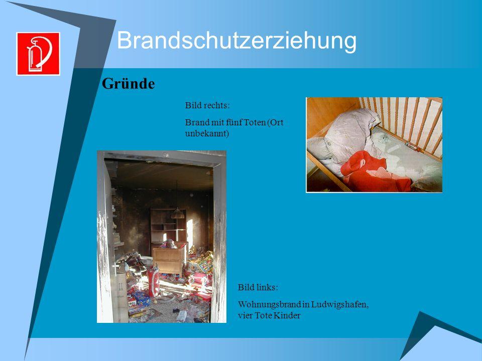 Brandschutzerziehung Gründe Bild links: Wohnungsbrand in Ludwigshafen, vier Tote Kinder Bild rechts: Brand mit fünf Toten (Ort unbekannt)