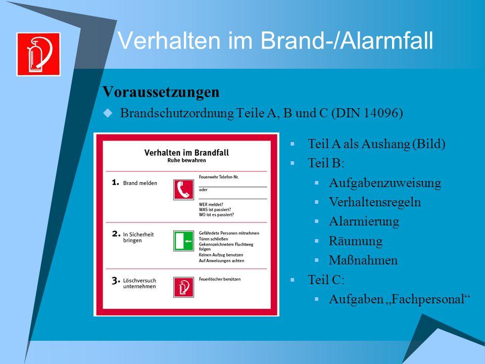 Verhalten im Brand-/Alarmfall Voraussetzungen Brandschutzordnung Teile A, B und C (DIN 14096) Teil A als Aushang (Bild) Teil B: Aufgabenzuweisung Verh
