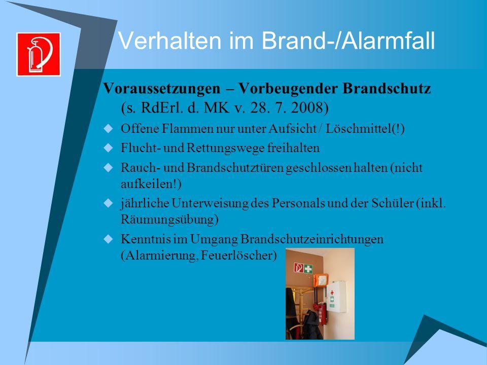 Verhalten im Brand-/Alarmfall Voraussetzungen – Vorbeugender Brandschutz (s.