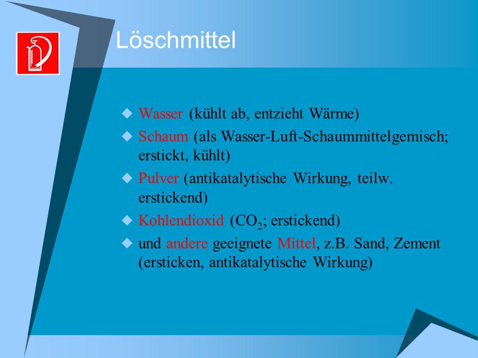 Löschmittel Wasser (kühlt ab, entzieht Wärme) Schaum (als Wasser-Luft-Schaummittelgemisch; erstickt, kühlt) Pulver (antikatalytische Wirkung, teilw.