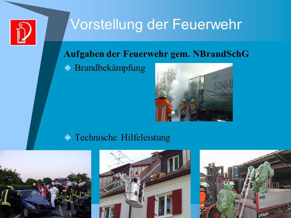 Vorstellung der Feuerwehr Aufgaben der Feuerwehr gem. NBrandSchG Brandbekämpfung Technische Hilfeleistung