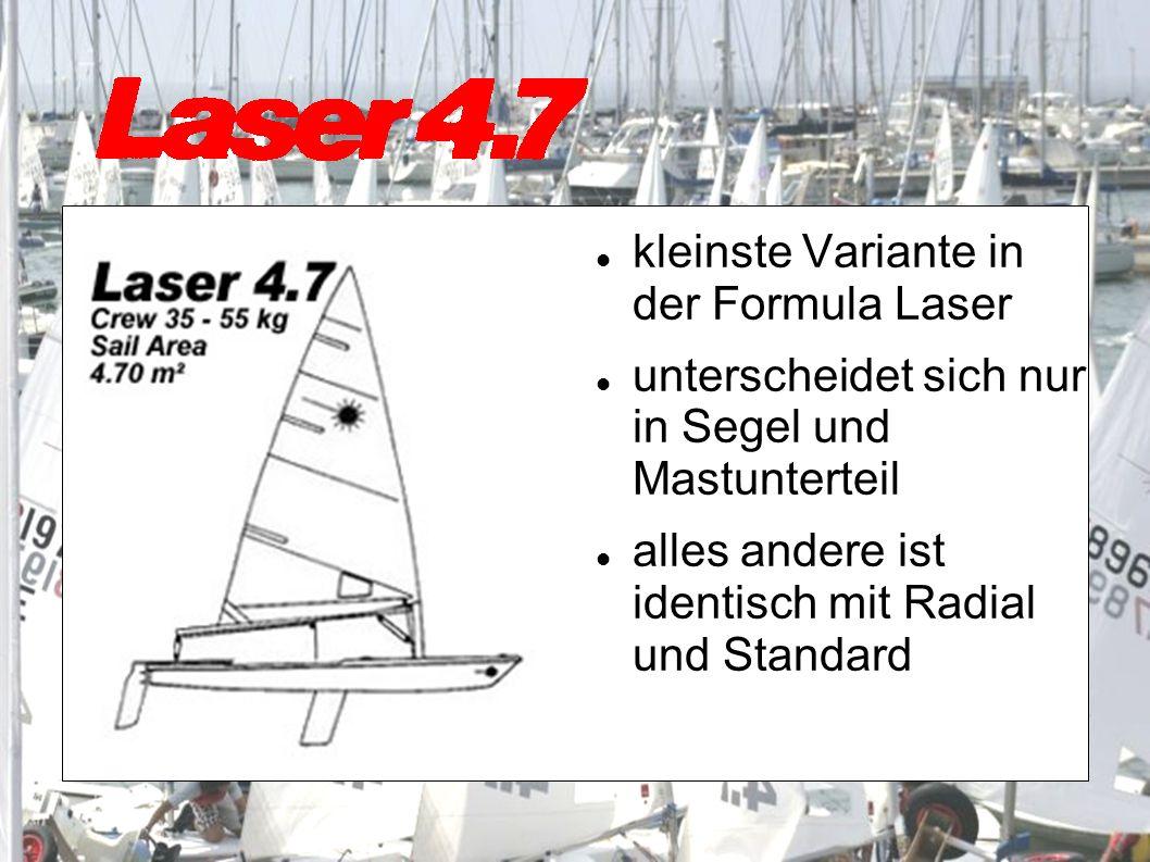 kleinste Variante in der Formula Laser unterscheidet sich nur in Segel und Mastunterteil alles andere ist identisch mit Radial und Standard