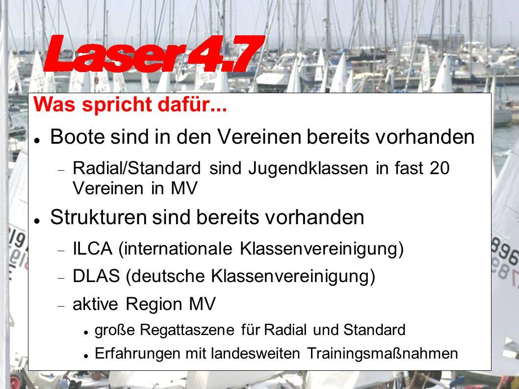 Was spricht dafür... Boote sind in den Vereinen bereits vorhanden Radial/Standard sind Jugendklassen in fast 20 Vereinen in MV Strukturen sind bereits