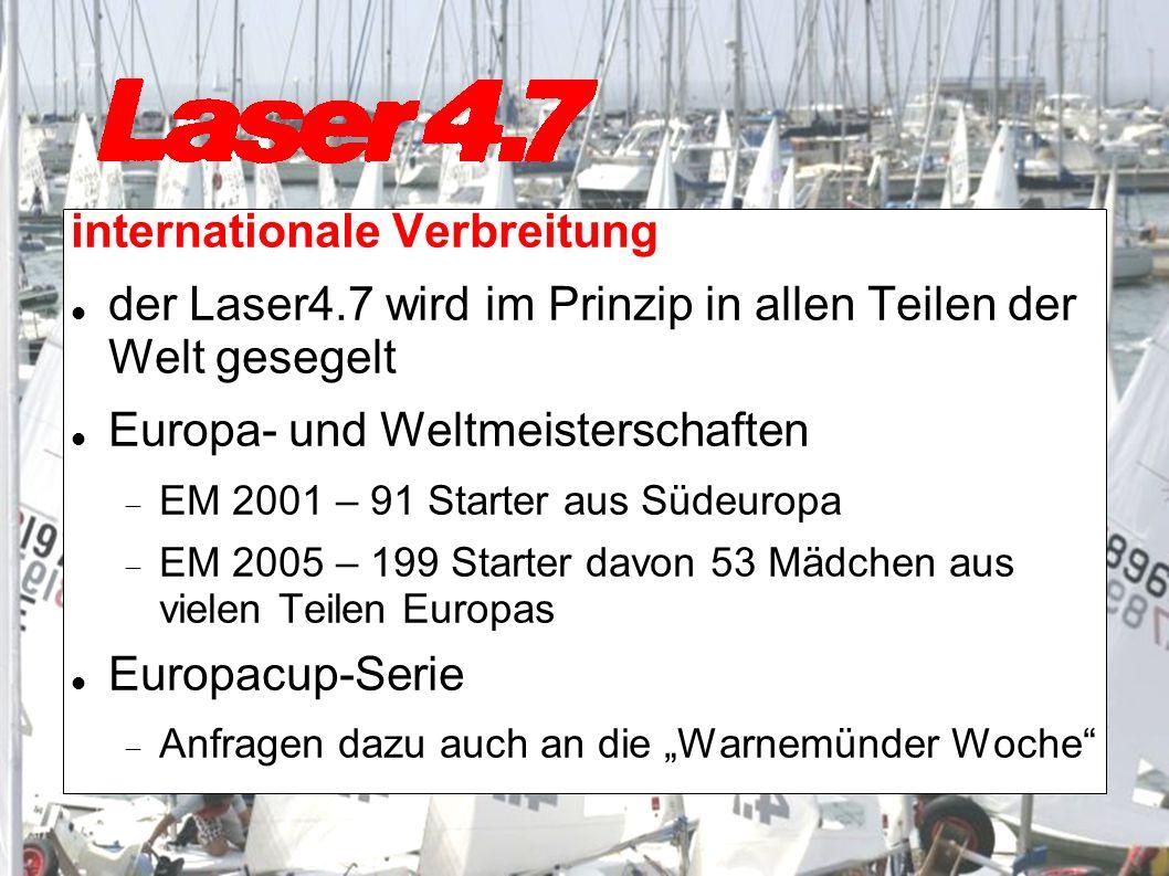 internationale Verbreitung der Laser4.7 wird im Prinzip in allen Teilen der Welt gesegelt Europa- und Weltmeisterschaften EM 2001 – 91 Starter aus Südeuropa EM 2005 – 199 Starter davon 53 Mädchen aus vielen Teilen Europas Europacup-Serie Anfragen dazu auch an die Warnemünder Woche
