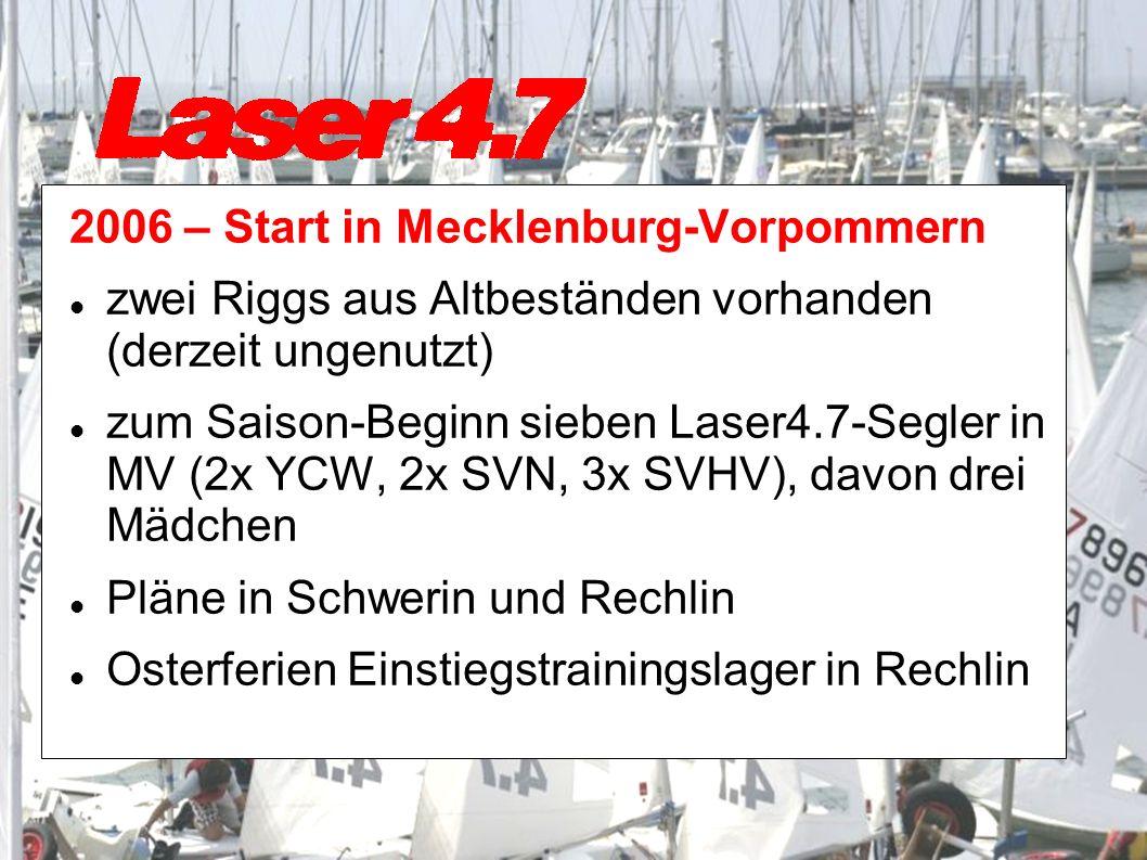 2006 – Start in Mecklenburg-Vorpommern zwei Riggs aus Altbeständen vorhanden (derzeit ungenutzt) zum Saison-Beginn sieben Laser4.7-Segler in MV (2x YCW, 2x SVN, 3x SVHV), davon drei Mädchen Pläne in Schwerin und Rechlin Osterferien Einstiegstrainingslager in Rechlin